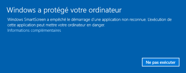Message d'avertissement de Windows SmartScreen lors de l'installation de TUER [Warning message of Windows SmartScreen during the install of TUER]