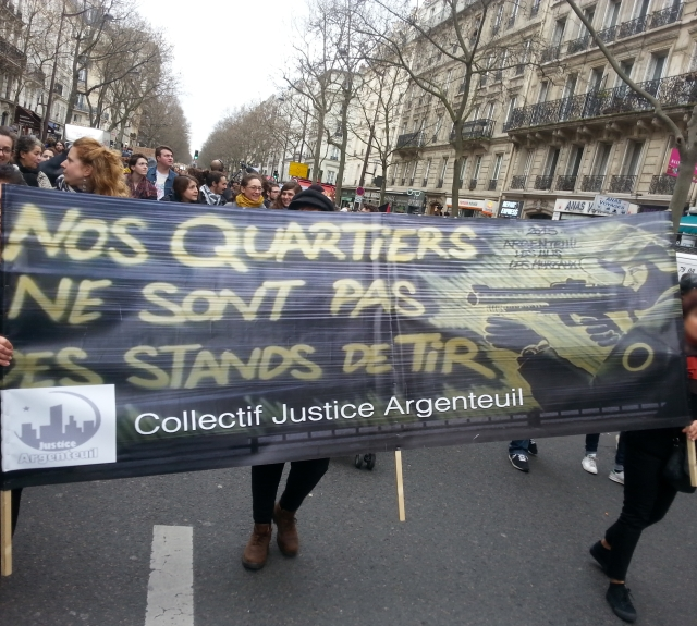 Nos quartiers ne sont pas des stands de tir, Collectif Justice Argenteuil [Our districts aren't shooting galleries, Collective Justice Argenteuil]
