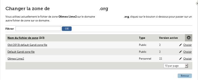 Choix de la zone DNS pour un nom de domaine chez Gandi [Choice of the DNS zone for a domain name at Gandi]