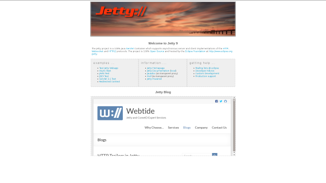 Page de bienvenue de Jetty [Jetty welcome page]