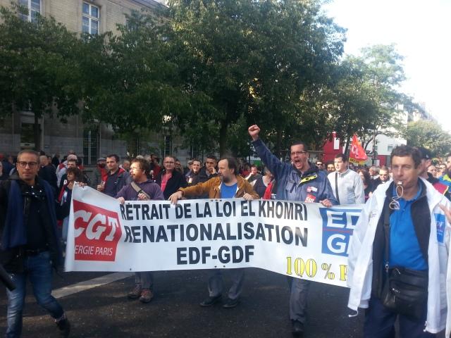 Retrait de la loi El Khomri, renationalisation d'EDF-GDF, CGT énergie Paris [Repeal of El Khomri's law, renationalization of EDF-GDF, CGT energy Paris]