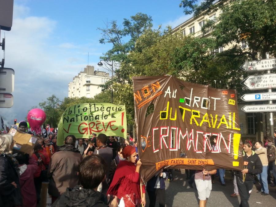 Non au droit du travail de Cromacron, collège Fabien Saint-Denis [No to Cromacron's labour code, secondary school Fabien Saint-Denis]