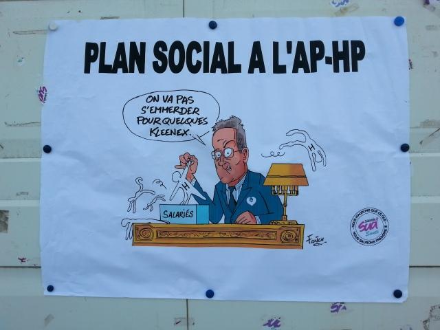 Plan social à l'AP-HP, on va pas s'emmerder pour quelques kleenex, SUD santé [Redundancy scheme at Paris university hospital trust, we won't bother for some kleenex, SUD health]