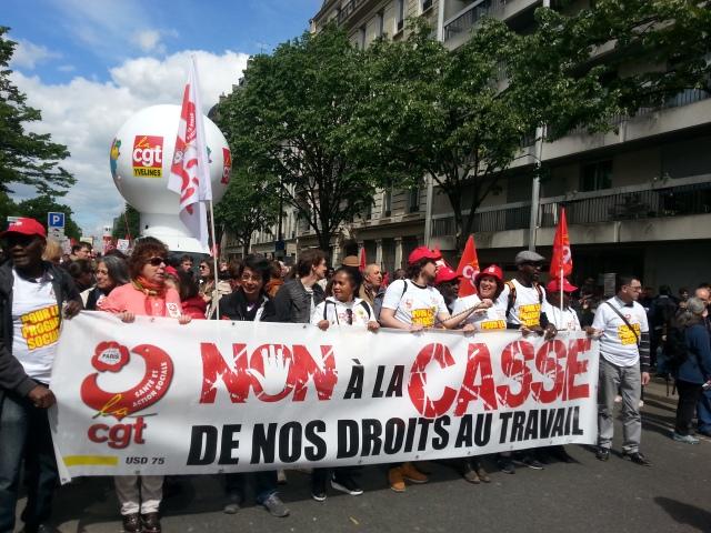 Non à la casse de nos droits au travail, CGT 75 [No to the breakage of our rights at work, CGT 75]