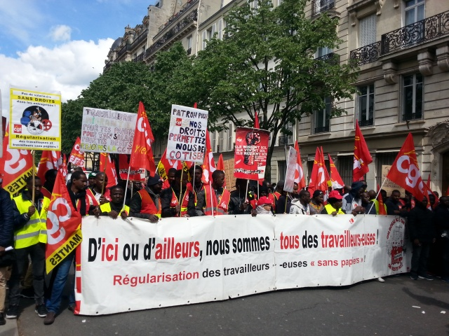 D'ici ou d'ailleurs, nous sommes tous des travailleurs, CGT [From here or elsewhere, we are all workers, CGT]