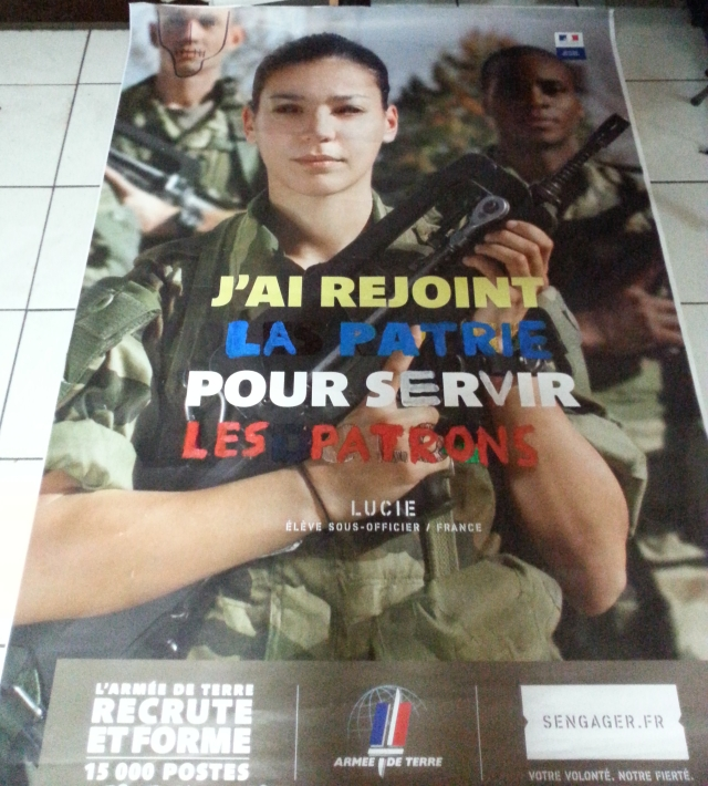 J'ai rejoint la patrie pour servir les patrons [I joined the homeland to serve the bosses]